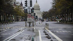Washington vidée de ses passants et des voitures le 25 mars 2020, à cause du coronavirus