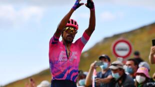 Le Colombien Daniel Martinez, vainqueur de la 13e étape du Tour de France, le 11 septembre 2020 au Puy Mary