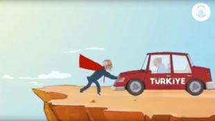Dessin animé montrant le candidat du Parti de la félicité Temel Karamollaoglu, tel un Superman, sauvant la Turquie.