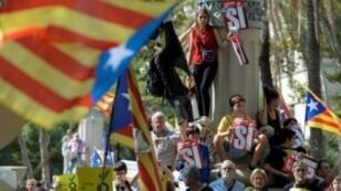 تظاهرة في برشلونة للمطالبة باستقلال كاتالونيا في 21 أيلول/سبتمبر 2017