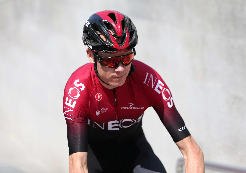 Chris Froome sous le maillot de l'équipe Ineos, le 23 février 2020, à Dubai.