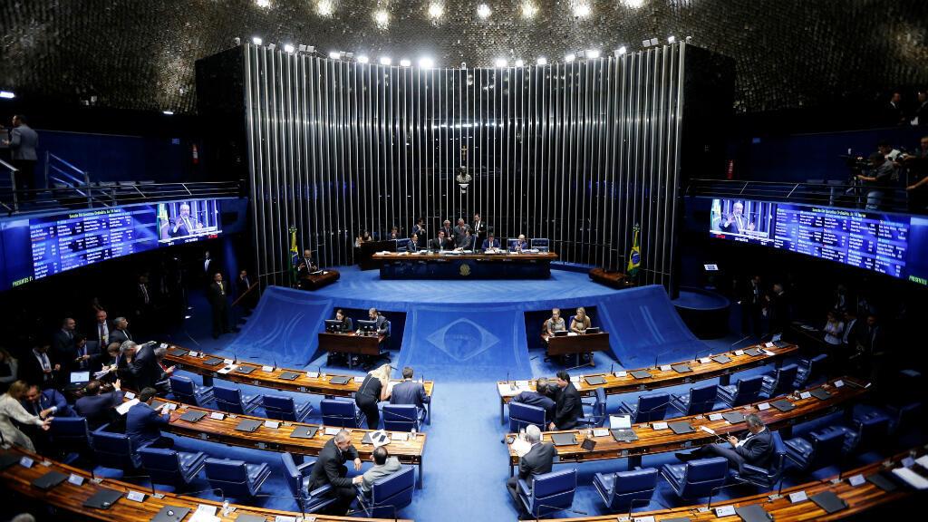 Vista general del Senado de Brasil durante una sesión para votar sobre el proyecto de reforma de pensiones en Brasilia, Brasil, el 22 de octubre de 2019.