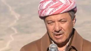 رئيس إقليم كردستان العراق مسعود بارزاني في جبل سنجار