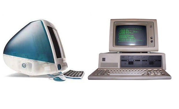 The iMac G3 (left) and the IBM PC 5150 (right).