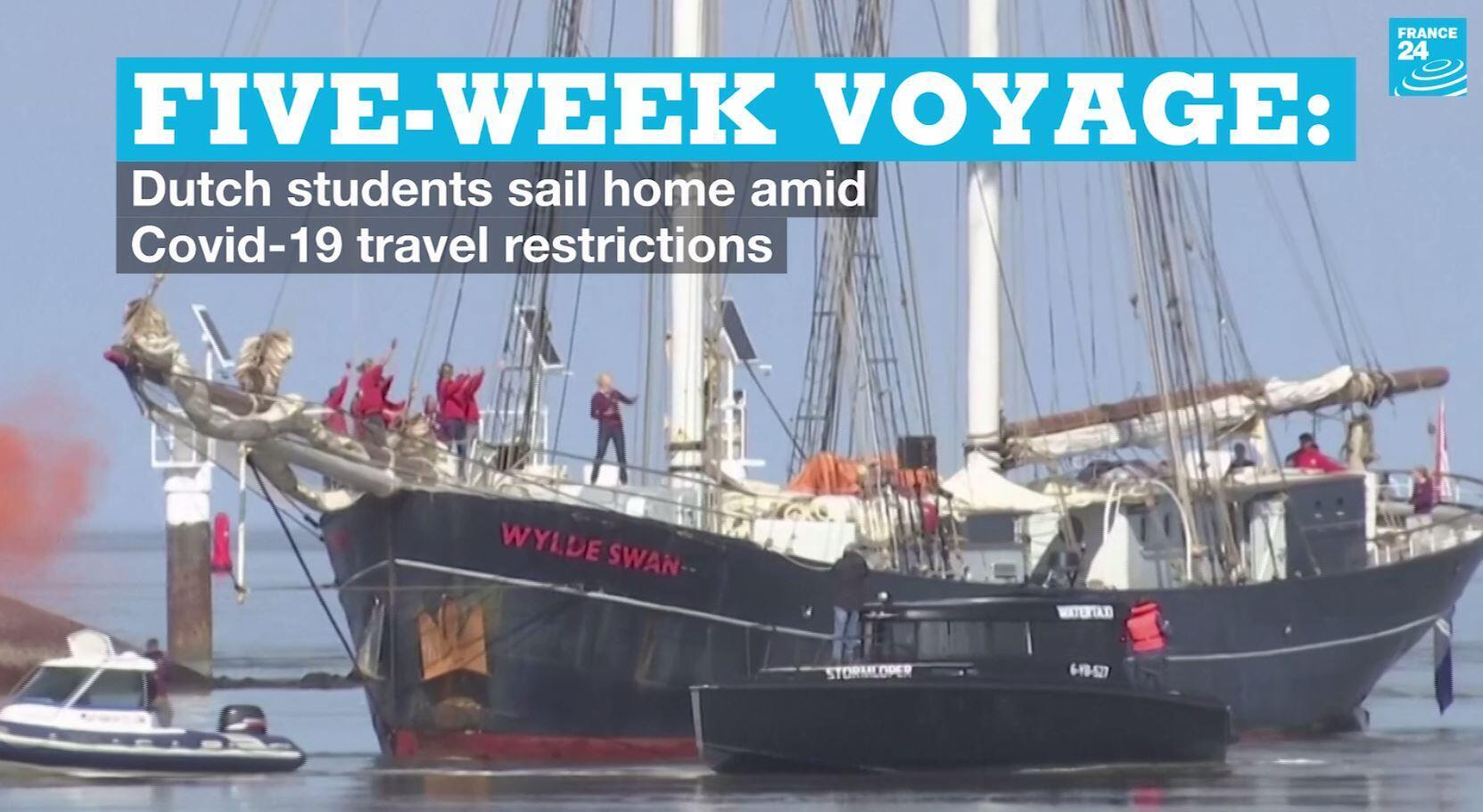 A group of Dutch students arrive in the Netherlands onboard the Wyld Swan on Sunday, April 26, 2020.