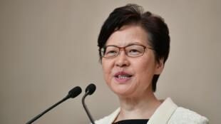 La cheffe de l'exécutif  de Hong Kong, Carrie Lam, le 3 septembre 2019, lors d'une conférence de presse.