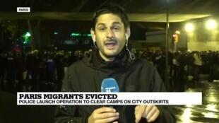 2019-11-07 06:32 Reportage from Porte de la Chapelle as authorities clear migrant camps