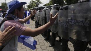 Manifestation contre la présidence de Daniel Ortega, le 23 septembre 2018, à Managua.