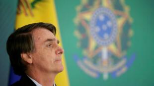 El presidente de Brasil, Jair Bolsonaro, durante una conferencia de prensa con el líder de la oposición venezolana, Juan Guaidó, después de una reunión en Brasilia el 28 de febrero de 2019.