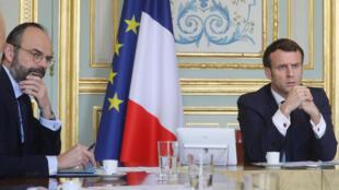 Emmanuel Macron et Édouard Philippe, à l'Élysée, le 19 mars 2020.