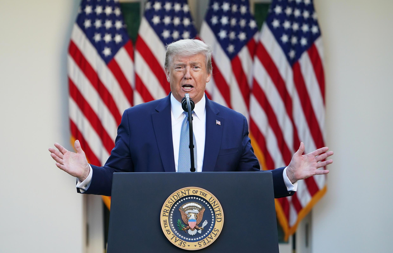 Donald Trump habla durante su comparecencia informativa diaria sobre la crisis del coronavirus, el 15 de abril de 2020 en la Casa Blanca, en Washington
