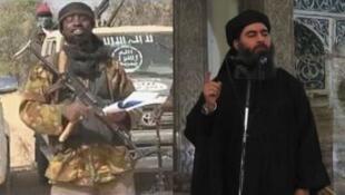 Le chef de l'EI, Abou Bakr al-Baghdadi (à droite), a accepté jeudi 12 mars l'allégance de la secte Boko Haram dirigée par Abubakar Shekau (à gauche sur la photo).