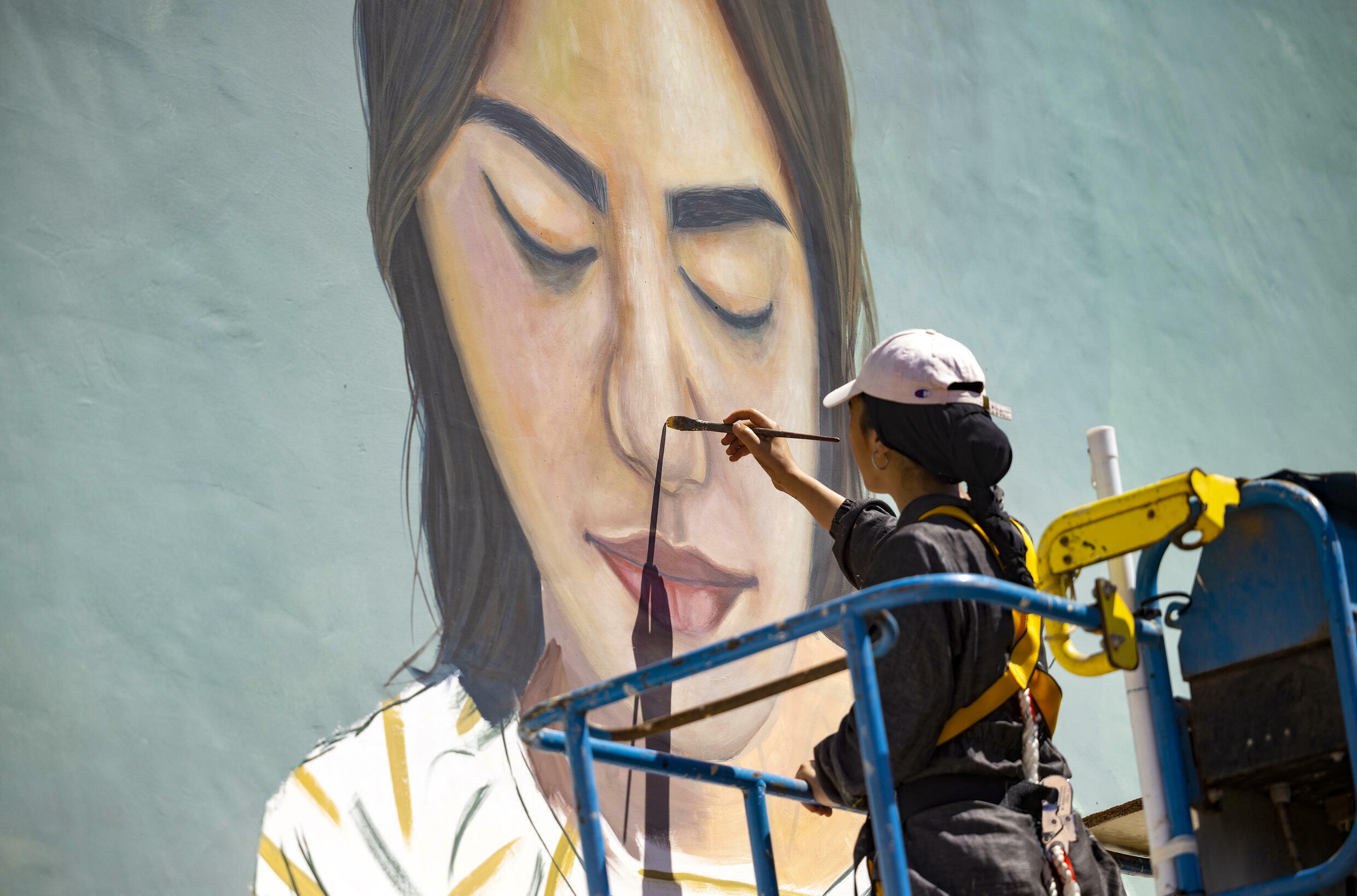 """Imane Droby, a female street artist who also took part in the festival, says women have to """"double the effort"""" to make their mark"""
