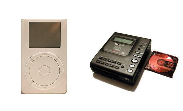 A first-generation iPod (left) and the Minidisc player (right).