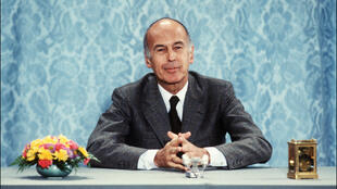 Late French president Valéry Giscard d'Estaing giving a press conference at the Élysée Palace in Paris, June 26, 1980.
