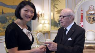 La ministre de la Culture française a rendu visite au président tunisien Béji Caïd Essebsi à Tunis, le 18 avril 2015.
