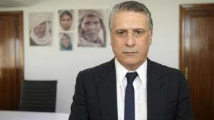 نبيل القروي في مكتبه بتونس في 18 يونيو/حزيران 2019.