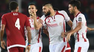 Altercation entre les joueurs de la Tunisie et de la Guinée équatoriale lors du quart de finale à Bata, le 31 janvier 2015.