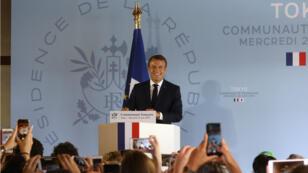 Emmanuel Macron face à la communauté française à l'ambassade de France de Tokyo, le 26 juin 2019.