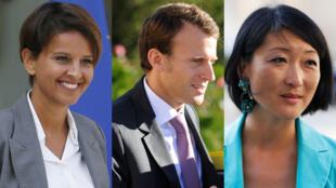 De gauche à droite : Najat Vallaud-Belkacem, Emmanuel Macron et Fleur Pellerin.
