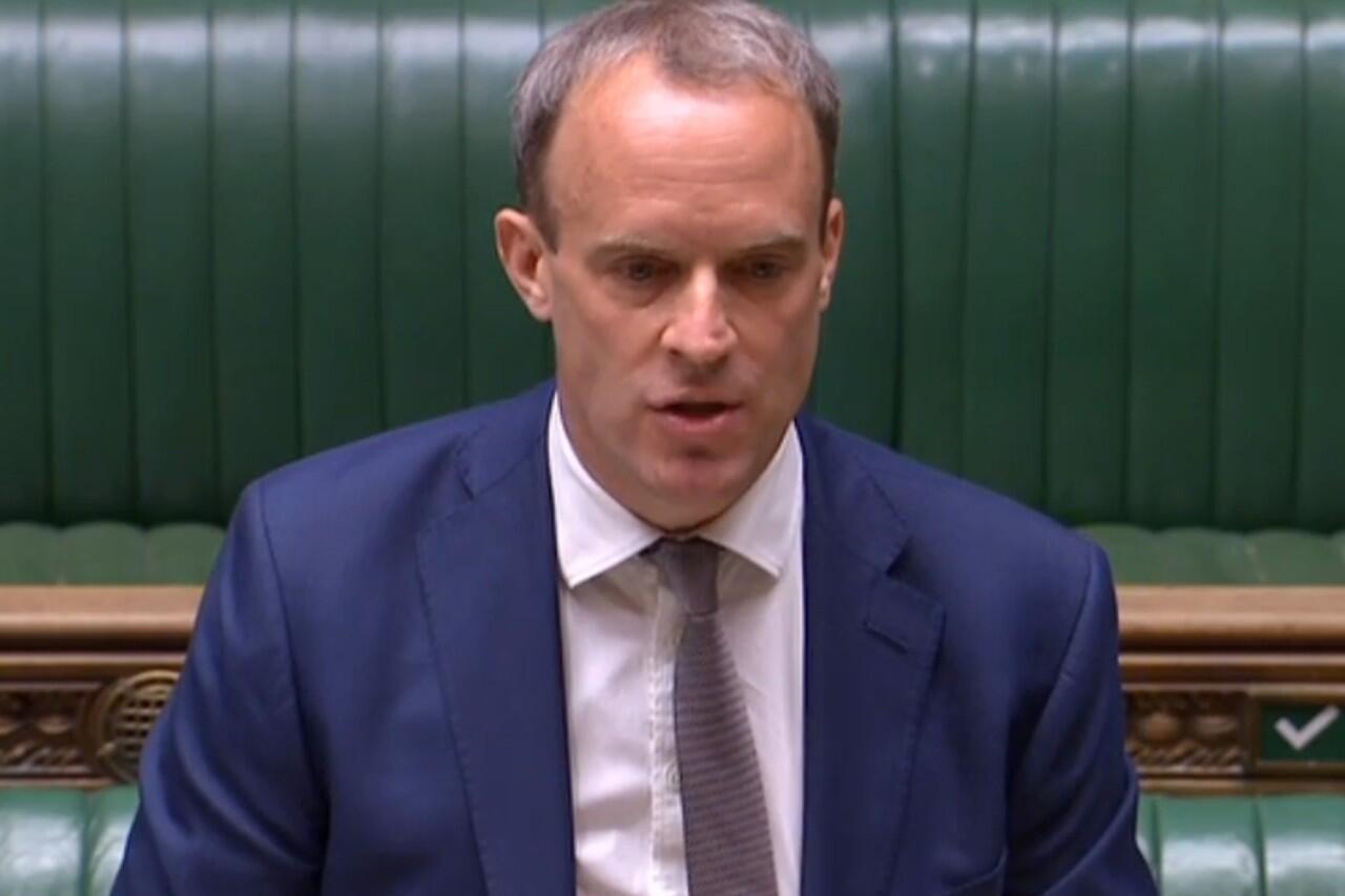 El secretario de Relaciones Exteriores de Reino Unido, Dominic Raab, durante una sesión en el Parlamento británico. 2 de junio de 2020.