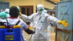Des employés de la Croix-Rouge guinéenne se préparent à transporter le corps d'une victime d'Ebola à Conakry, le 14 septembre 2014.