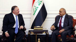Le secrétaire d'État américain, Mike Pompeo, et le Premier ministre irakien, Adel Abdoul Mahdi, le 7 mai 2019, à Bagdad.
