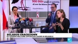 2020-09-21 11:07 Belarus crackdown: In Brussels, Tikhanovskaya calls on EU to be 'stronger & braver'