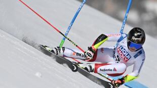 La Suissesse Lara Gut-Behrami durant l'épreuve du géant féminin, le 18 février 2021, aux Championnats du monde de ski alpin à Cortina d'Ampezzo, dans les Alpes italiennes.