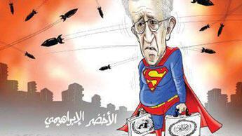 Lakhdar Brahimi grimé en Superman