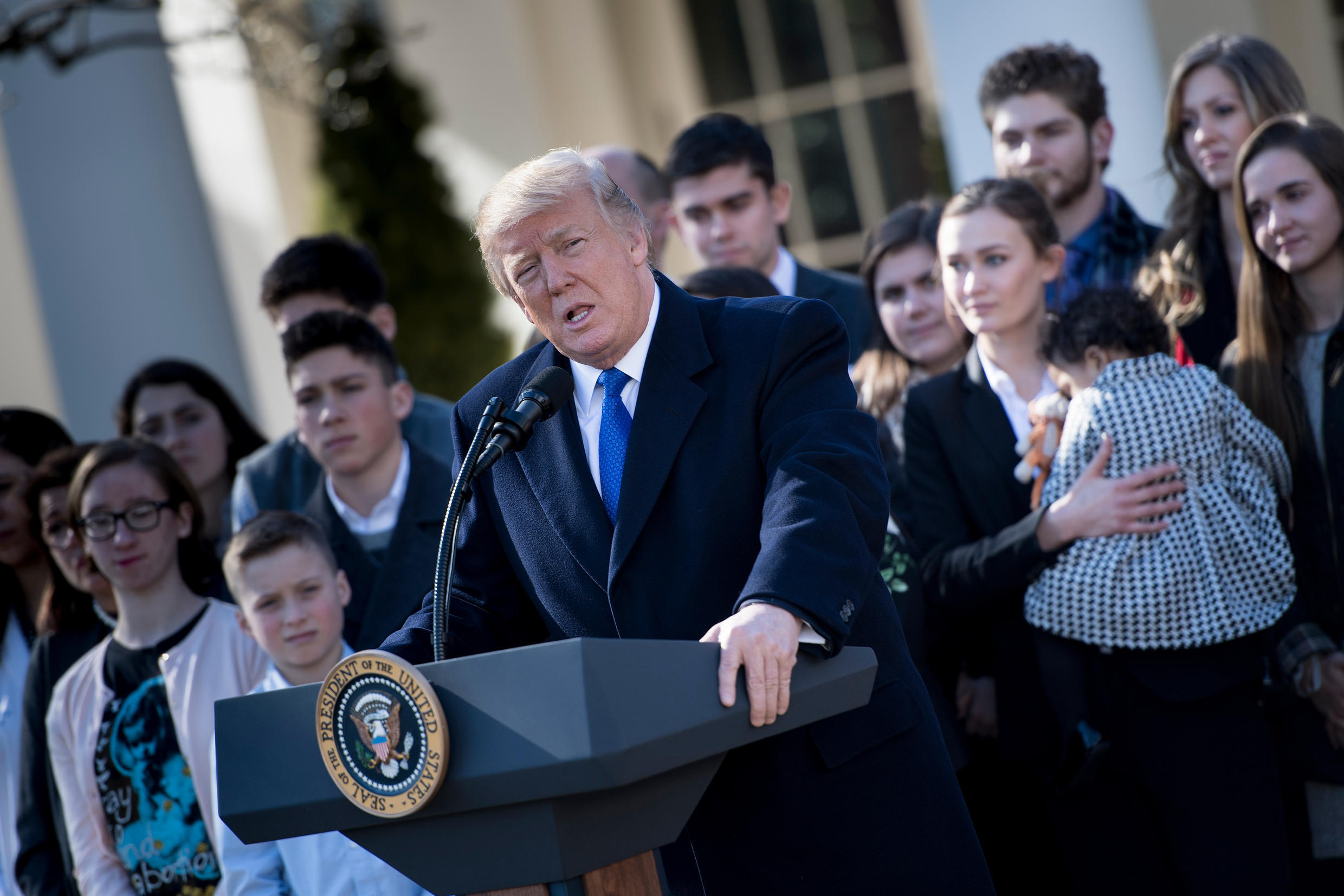 US President Donald Trump delivers a speech via video from the White House to the March for Life on January 19, 2018.