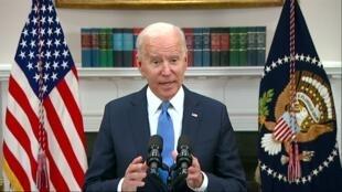 جو بايدن مخاطبا الأمريكيين في 13 مايو 2021.