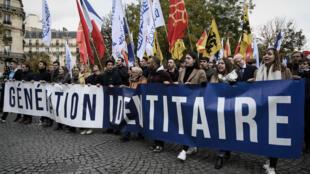 Manifestation de Génération identitaire à Paris en novembre 2019 contre l'islamisation
