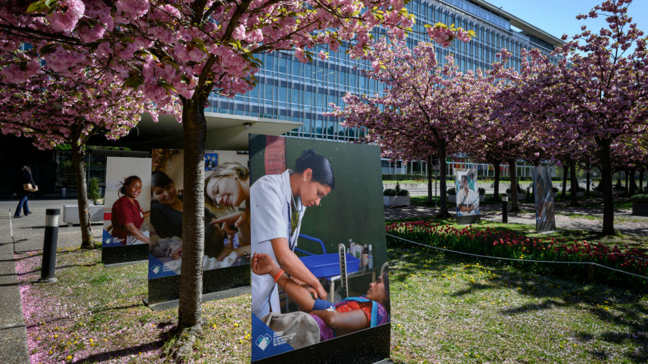 A photo exhibit outside the headquarters of the World Health Organization (WHO) in Geneva amid the Covid-19 outbreak seen on April 15, 2020.