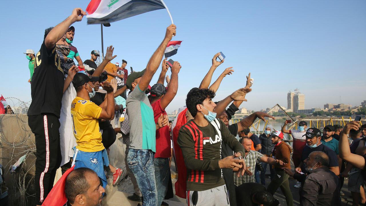 Manifestants à Bagdad le 25 octobre 2019.