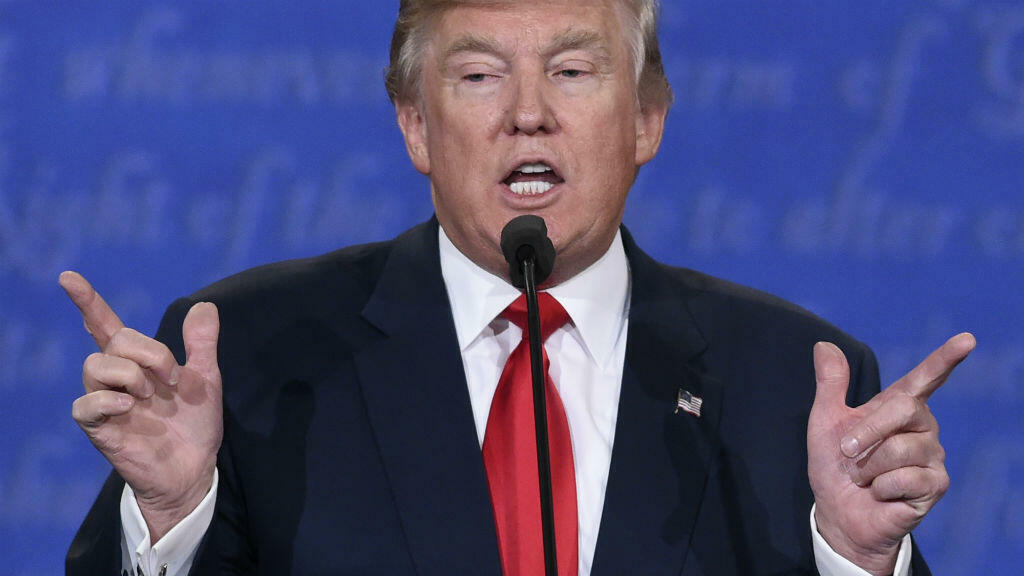Donald Trump lors du dernier débat de la campagne au Thomas & Mack Center sur le campus de l'Université de Las Vegas, le 19 octobre 2016.