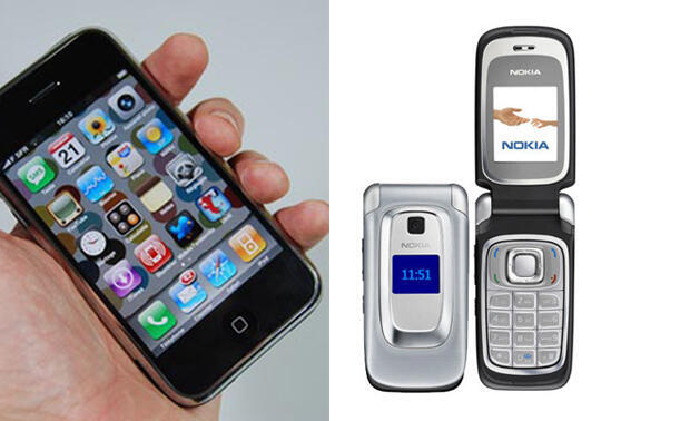 The first-generation iPhone (left) and the classic mobile telephone (right).