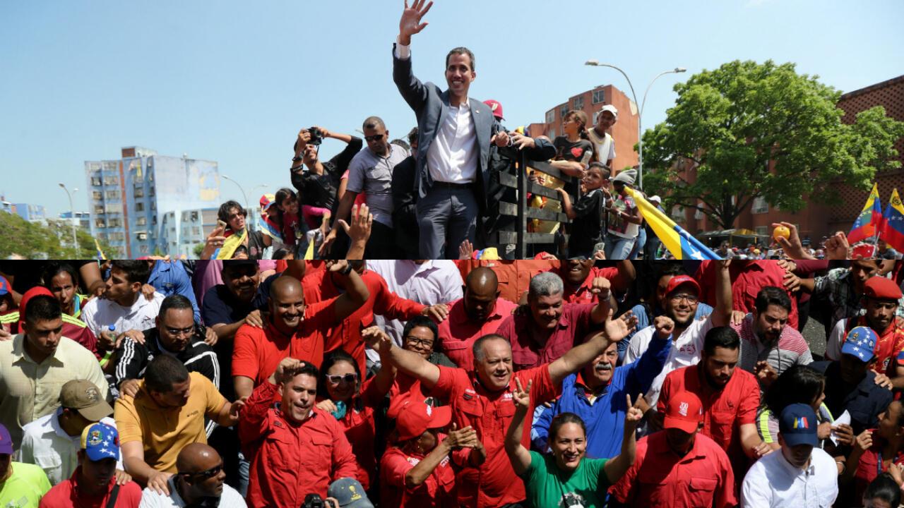 Arriba, Juan Guaidó en Valencia, Carabobo, en medio de sus simpatizantes y abajo, Diosdado Cabello en la movilización oficialista en Caracas el 16 de marzo de 2019.