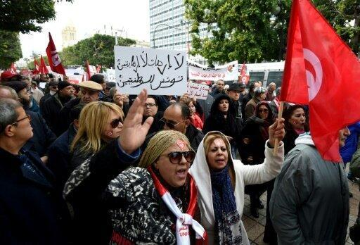تونسيون يتظاهرون ضد عودة جهاديين من بؤر النزاعات في 8 كانون الثاني/يناير 2017