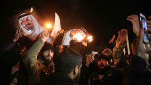 مظاهرات أمام السفارة السعودية بطهران 2016/01/03
