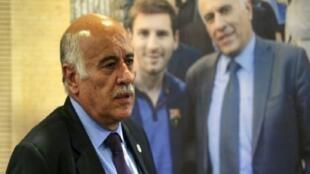 رئيس الاتحاد الفلسطيني لكرة القدم جبريل الرجوب خلال مؤتمر صحافي في رام الله.  6 حزيران/يونيو 2018.