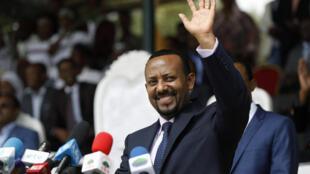 Le nouveau Premier ministre éthiopien Abiy Ahmed, lors d'un rassemblement à Ambo, à environ 120km à l'ouest d'Addis-Abeba, le 11 avril 2018.