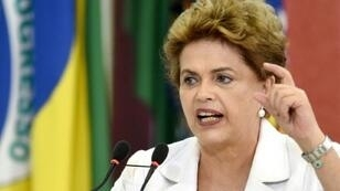 رئيسة البرازيل ديلما روسيق في قصر بلانلاتو ببرازيليا في 30 آذار/مارس 2016