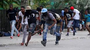 Des manifestants à Port-au-Prince, le 23 février 2020.