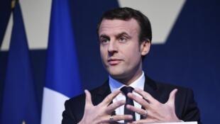 Emmanuel Macron, le 2 mars 2017, au Pavillon Gabriel, à Paris, lors de la présentation de son programme pour l'élection présidentielle.