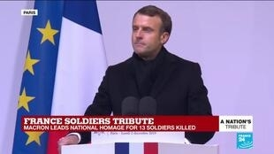 """2019-12-02 15:49 Macron: """"We thank you as free people and we are free thanks to you"""""""