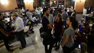 مركز اقتراع في برشلونة للتصويت على استفتاء انفصال إقليم كاتالونيا في 1 تشرين الأول/أكتوبر