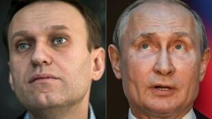صورة مركبة بتاريخ 1 تشرين الأول/أكتوبر 2020 تظهر المعارض الروسي أليكسي نافالني (16 كانون الثاني/يناير 2018 في موسكو) والرئيس فلاديمير بوتين (4 تموز/يوليو 2019 في روما)