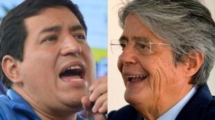 Andrés Arauz (izq) y Guillermo Lasso, en sendas imágenes de archivo tomadas durante la campaña electoral para la primera vuelta de las presidenciales en Ecuador