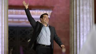 Alexis Tsipras au soir de sa victoire aux législatives, le 25 janvier 2015, à Athènes.